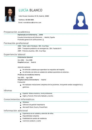 ejemplos de curriculum enfermero