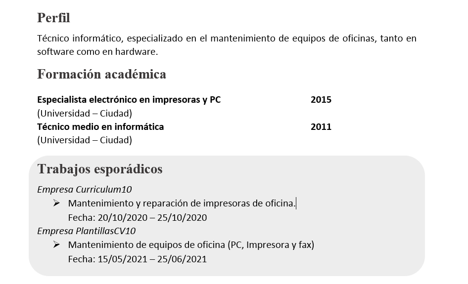 ejemplo trabajos puntuales en el currículum