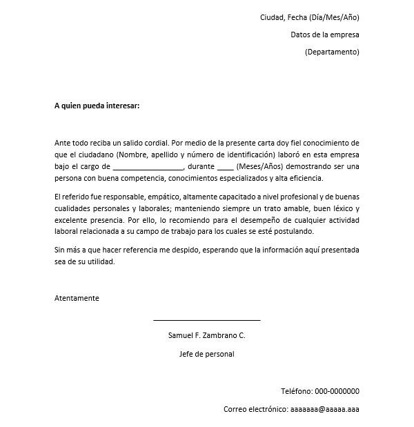 Ejemplo de carta de recomendación en word